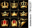 illustration set gold(en) crowns on black background - stock photo