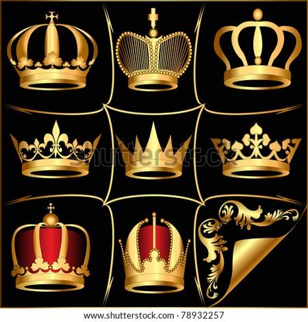 illustration set gold(en) crowns on black background - stock photo