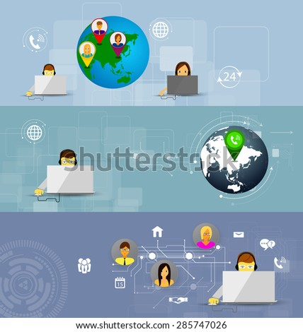 illustration set of banners concept of call center, customer support - stock photo