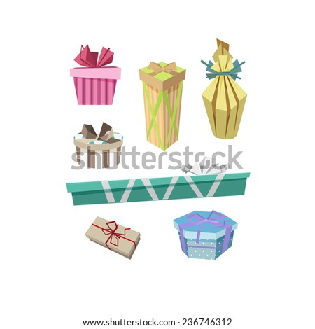 Illustration set of different color cute gift boxes, isolated on white - stock photo