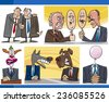 Illustration Set of Humorous Cartoon Concepts or and Metaphors of Politics and Politicians - stock photo