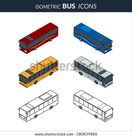 illustration. Set of icons of the bus. Color, contour, outline, with a door. Isometric, 3D