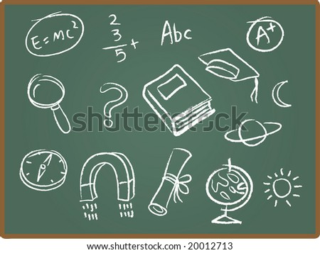 Illustration Set of school icons on chalkboard - stock photo