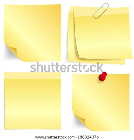 Illustration set of sticky yellow papers for your designs.