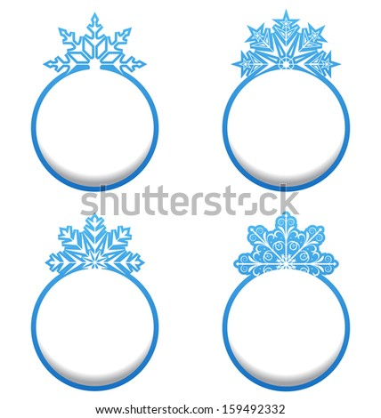 Illustration set of variation label with snowflakes isolated - raster - stock photo