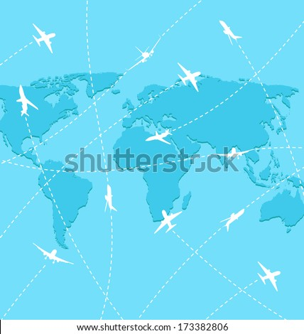 Illustration set planes on map background - raster