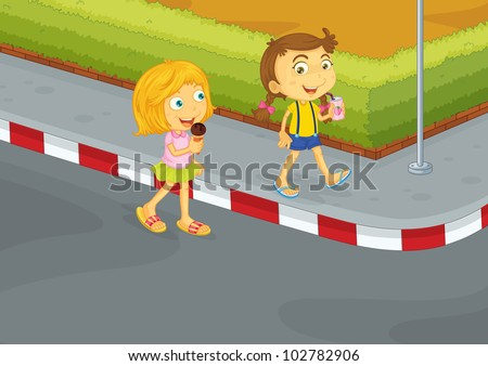 Illustration showing children in danger on the road - EPS VECTOR format also available in my portfolio. - stock photo