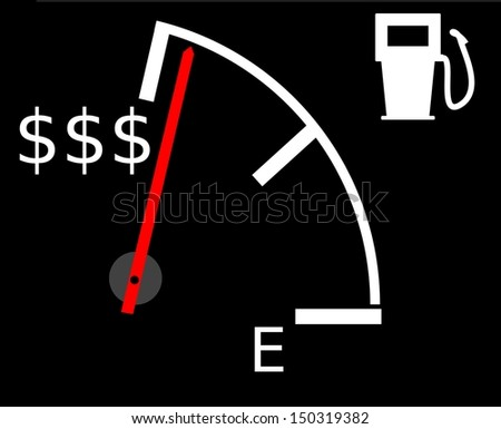 Illustration showing the current rising fuel prices in US Dollars