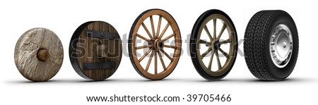 Illustration showing the evolution of the wheel starting from a stone wheel and ending with a steel belted radial tire. - stock photo