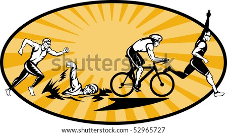 illustration showing the progression of Olympic triathlon showing an athlete starting, swimming, biking or cycling and finishing of with  a run. - stock photo