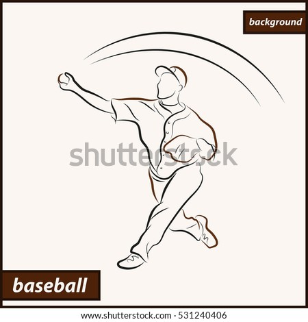 Illustration shows a baseball player throwing the ball. Sport. Baseball