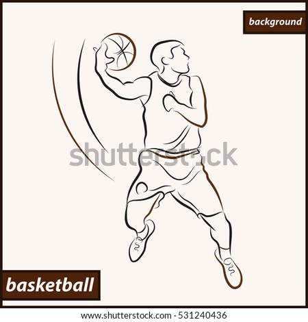 Illustration shows a basketball player in the attack. Sport. Basketball