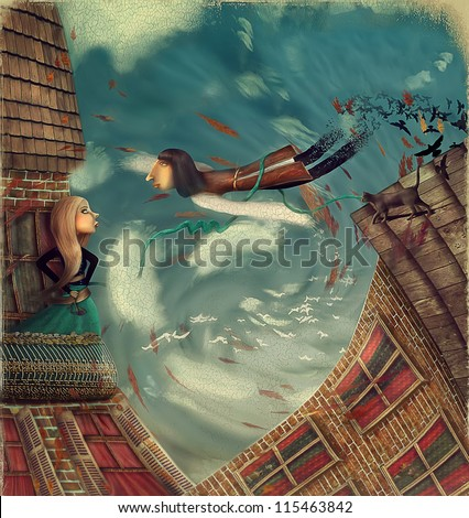 Illustration shows a man in sky.He grows into a bird.A girl stands on a balcony and looks in sky - stock photo