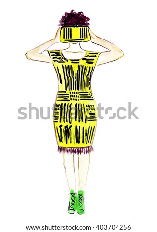 Illustration sketch of female fashion in a yellow dress with a yellow bag