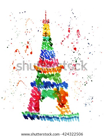 Illustration sketch of the famous symbol of Paris Eiffel Tower, in a spray of fireworks, colored balloons and drops of watercolor - stock photo