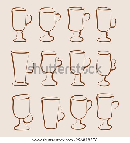 Illustration sketch set coffee and latte cups design elements - raster