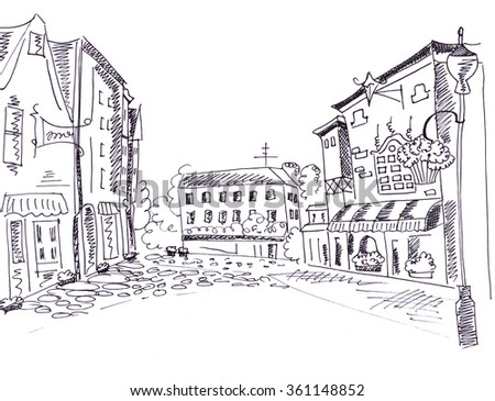 Illustration sketching the image of the city with buildings and stone pavement area