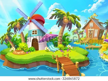Illustration: Small Lighthouse. Lighthouse, Sunshine, Wind, Islands, Sea, Bridge. Fantastic Realistic Cartoon Style Scene / Wallpaper / Background Design.  - stock photo