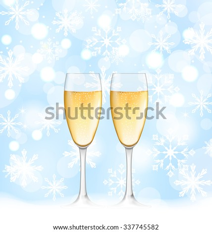 Illustration Snowflakes Elegance Background with Glasses of Champagne for Merry Christmas - raster - stock photo
