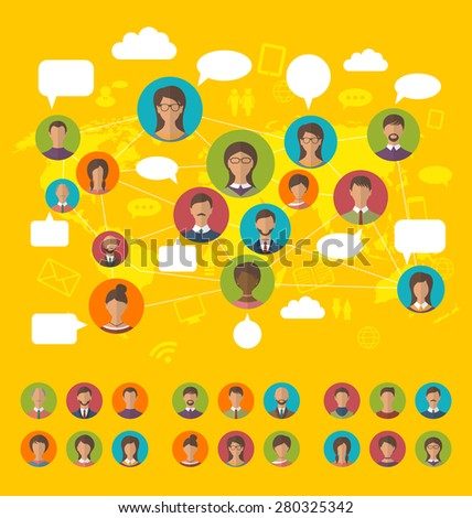 Illustration social network concept on world map with people icons avatars, flat design - raster  - stock photo