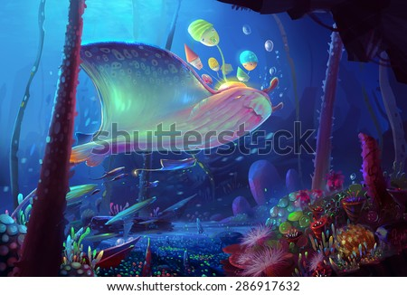 Illustration: Song of the Sea. You never know, in the depths of the sea, there is a group of giant rays wanders everywhere with a small world in their back! - Scene Design - Fantastic - stock photo