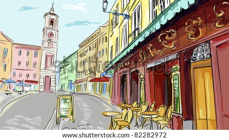 illustration. street - facades of old houses - stock photo