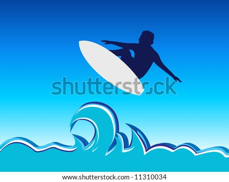 Illustration surfing man jump