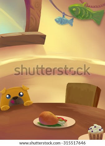 Illustration: Sweet Dinner Room; Table with food. Birthday Cake. Drumstick. Ice cream. And little Dog want to eat. Fantastic Cartoon Style Scene Wallpaper Background Design. - stock photo
