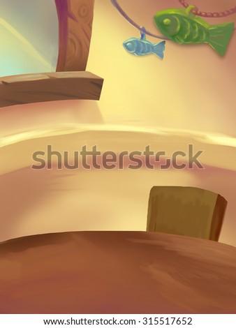 Illustration: Sweet Dinner Room; Table with food. Birthday Cake. Drumstick. Ice cream. Fantastic Cartoon Style Scene Wallpaper Background Design. - stock photo