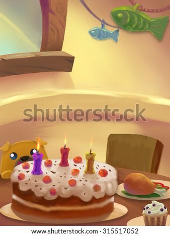 Illustration: Sweet Dinner Room; Table with food. Birthday Cake. Drumstick. Ice cream.Little Greedy dog. Fantastic Cartoon Style Scene Wallpaper Background Design. - stock photo