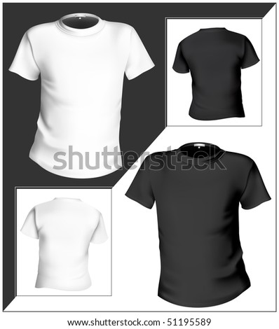 Illustration. T-shirt design template (front & back). Black and white. Raster-version of vector illustration no. 47085718 - stock photo
