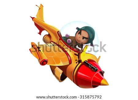 Illustration: The Brave Boy Piloted his Aircraft into more distant destinations in space. Story with Fantastic Cartoon Style Character Design. - stock photo