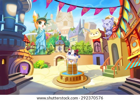 Illustration: The Cat Statue of Liberty - Don't bully your cat, or their friends from their hometown will not forgive you! Welcome to CatVille on Cat Planet - Scene Design - Fantastic / Cartoon Style - stock photo