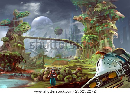 Illustration: The girl comes here to rescue a special prisoner, a prince also her brother, who was exiled to this prison planet. Her dog worries about her. Realistic Style. Scene / Wallpaper Design. - stock photo