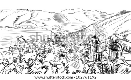 illustration the greek town - sketch - stock photo