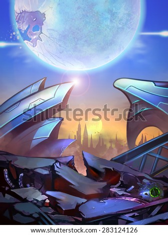 Illustration: The Imaginary Atlantics City - A broken future city - Scifi Topic - stock photo