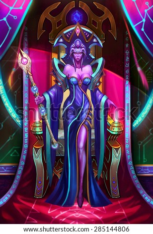Illustration: The Paramount Queen of Light Got Up from the Throne - Her army was severely damaged but she don't know who had done so. She is in a state of angry and shock - Scene Design - Sci-Fi Topic - stock photo