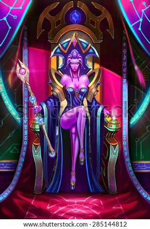 Illustration: The Paramount Queen of Light Sits on the Throne - Her army was severely damaged but she don't know who had done so. She is in a state of angry and shock. - Scene Design - Sci-Fi Topic - stock photo