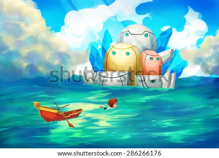 Illustration: The Robot Island - What's in there? Our little friend thinks and venture to swim to the strange island which suddenly coming out of the sea. - Scene Design - Scifi & Fantastic Style - stock photo