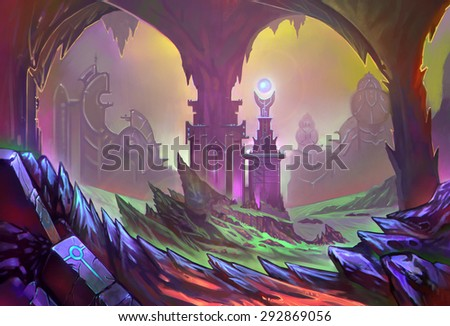 Illustration: The Sand Castle. It's rebuilt from the ruin of the hometown of the Sand Snake. - Scene Design - Sci-Fi Topic - Fantastic / Realistic Style - stock photo