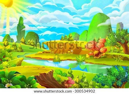 Illustration: The Sun and the River. Cartoon Style. Nature Topic. Scene / Wallpaper / Background Design. - stock photo