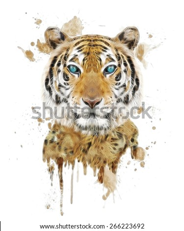 illustration tiger/T-shirt graphics/abstract watercolor like tiger/tiger graphics on a white background/wild tiger hunting/tiger print on canvas/Face of a white bengal tiger/Mask of the biggest cat - stock photo