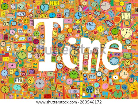 illustration TIME watches clocks seconds minutes hours colorful yellow