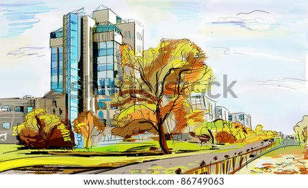 Illustration to the autumn old town - stock photo
