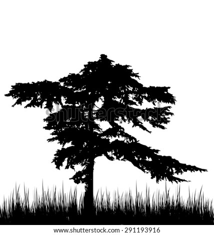 Illustration tree and grass in silhouette are isolated on white background - raster