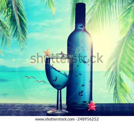 Illustration tropical dream paradise island underwater world in the bottle. Traveling, weekend vibrant vacation on sunny summer day concept. Snorkeling, diving. Caribbean country travel. Screen saver  - stock photo