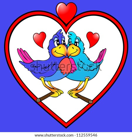illustration two parrots are kissed in heart - stock photo