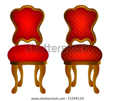 illustration two red chairs with pattern - stock photo