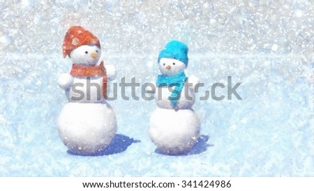 illustration, two snowman. Snowfall background. - stock photo