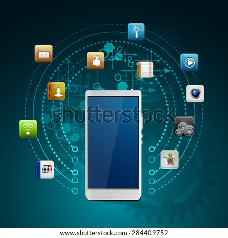 Illustration use of cloud computing storage and applications on a mobile device with a set of flat icons
